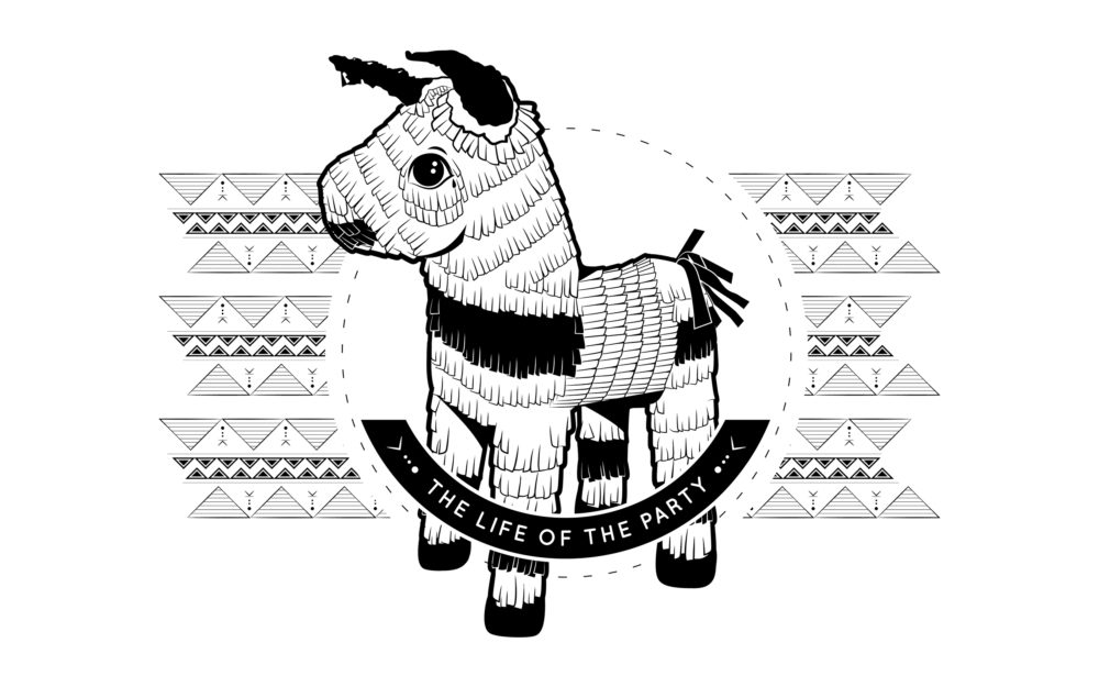 Piñata digital illustration with patterned background. Displayed in black and white.